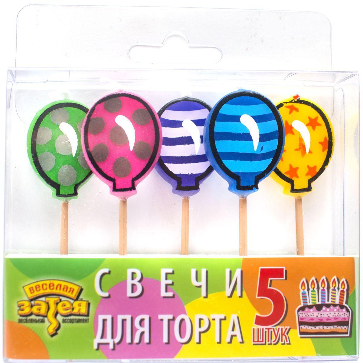 1502-0845 Свечи д/торта на пиках Шарик 5шт/A