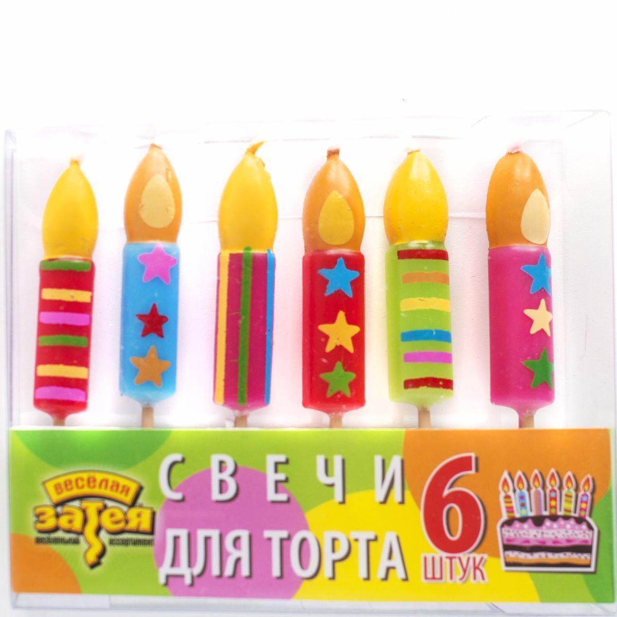 1502-0846 Свечи д/торта на пиках Свеча 6шт/A
